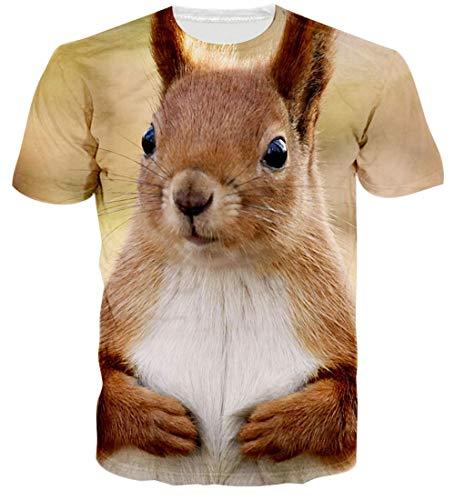 Loveternal Unisex 3D Graphics Print Short Sleeve T Shirts Guy Rap Animal T Shirts Summer Cool Top Hip Hop Tees for Men Women Slim Workout