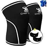 Knee Sleeve Neoprene 7mm (1 Pair) with FREE Adjustable Patella Knee Brace (1 Pair) By Chief Gear - Knee Support, Protects Patella, Pain Relief for Weight Lifting, Gym - (BLACK Medium)