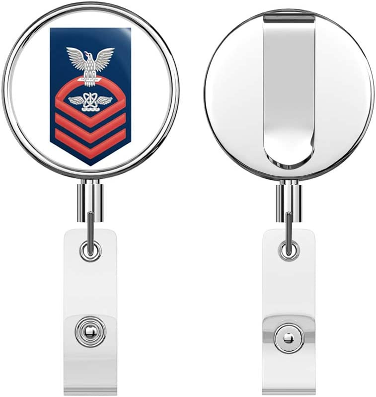 US Navy Chief Red E-7 Aviation Warfare Technician AW Round ID Badge Key Card Tag Holder Badge Retractable Reel Badge Holder with Belt Clip