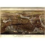 "1873 Old Map Boston Massachusetts Aerial Panoramic - Map Reprint 24"" X 34"""