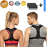 Adjustable Posture Corrector for Women&Men,Effective and Comfortable Posture Brace for Slouching and Hunching, Upper Back Bracer with Detachable Pads to Relieve Back Pain (33-41'')(Black)