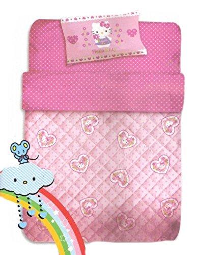 Piumone Hello Kitty 1 Piazza E Mezza.Sanrio Trapunta Lettino Baby Hello Kitty Rosa Pois 300 Gr 06001