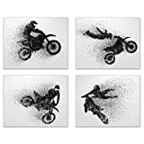 Motocross Dirt Bike Wall Decor Art Prints - Silhouette Set of 4 (8x10) Poster Photos - Bedroom, Man Cave