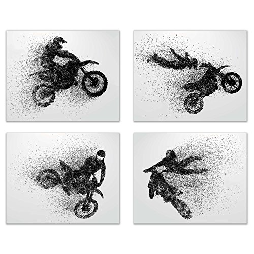 Motocross Dirt Bike Wall Decor Art Prints - Silhouette Set of 4 (8x10) Poster Photos - Bedroom, Man Cave (Motocross Poster)