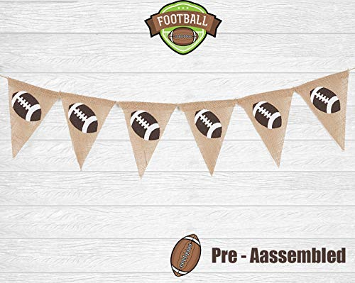 Super Bowl Burlap Banner Décor - Triangle Flag, Football Party Sign, Game Day Sports Party Banner for Kids Office School First Birthday Photo Booth Props Highchair Decorations Baby Shower Party -