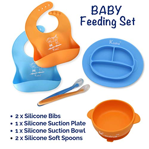 Kcuina 6 Piece Baby Feeding Set- Includes 2 Silicone Bibs, 1 Strong Suction Divided Plate, 1 Strong Suction Divided Bowl, and 2 Soft Spoon Set- Food Grade & FDA Approved Silicone- Blue and Orange
