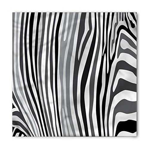 (Lunarable Unisex Bandana, Zebra Print Nature Safari Inspired, White Grey)
