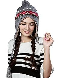 Women Knit Peruvian Beanie Wool Winter Ski Hat Cap With Earflap Pom