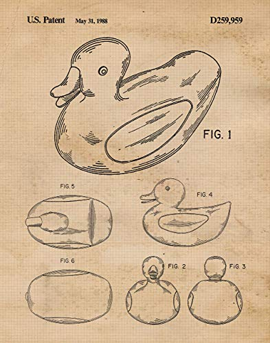 Original Rubber Duck Patent Poster Print- Set of 1 (One 11x14) Unframed Picture- Great Wall Art Decor Gift for Home, Office, Studio, Kids Room, Nursery, Student, Teacher, Baby Shower ()