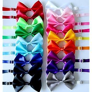 yagopet 20pcs Pet Dog Bow tie Dog Bowtie Collar Mix 18 Colors Solid Dog Ties Adjustable Pet Pet Collars Dog Grooming Accessories 40