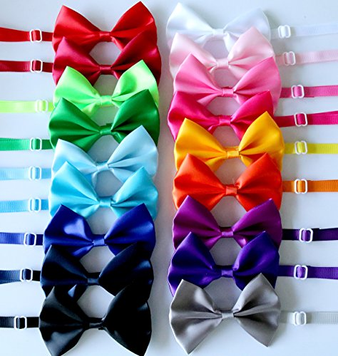 Bow Tie Accessory (yagopet 20pcs Pet Dog Bow tie Dog Bowtie Collar Mix 18 Colors Solid Dog Ties Adjustable Pet Pet Collars Dog Grooming Accessories)