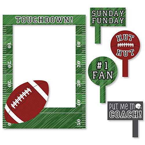 Big Dot of Happiness End Zone - Football - Birthday Party or Baby Shower Selfie Photo Booth Picture Frame & Props - Printed on Sturdy Material -
