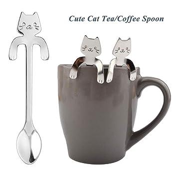 Cute Cat Spoon Long Handle Spoons Flatware Coffee Drinking Tools Kitchen Gadget