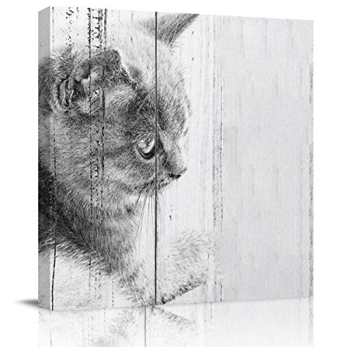 Wall Art Canvas Prints Home Decor Poster Wood Grain, Cat's Head Close-Up Oil Painting Pictures Artwork for Living Room Bedroom