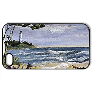 Turbulent Afternoon - Lighthouse F2 - Case Cover for iPhone 4 and 4s (Lighthouses Series, Watercolor style, Black)