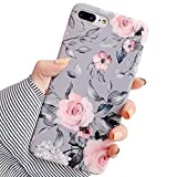 Electronics : YeLoveHaw iPhone 8 Plus / 7 Plus Case for Girls, Flexible Soft Slim Fit Full-Around Protective Cute Phone Case Cover with Purple Floral and Gray Leaves Pattern for iPhone 7Plus / 8Plus (Pink Flowers)