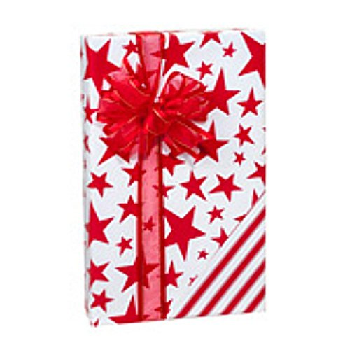 Holiday Stars and Stripes Gift Wrap Roll - 24 Inches x 85 Feet Long (2 Rolls) by NW