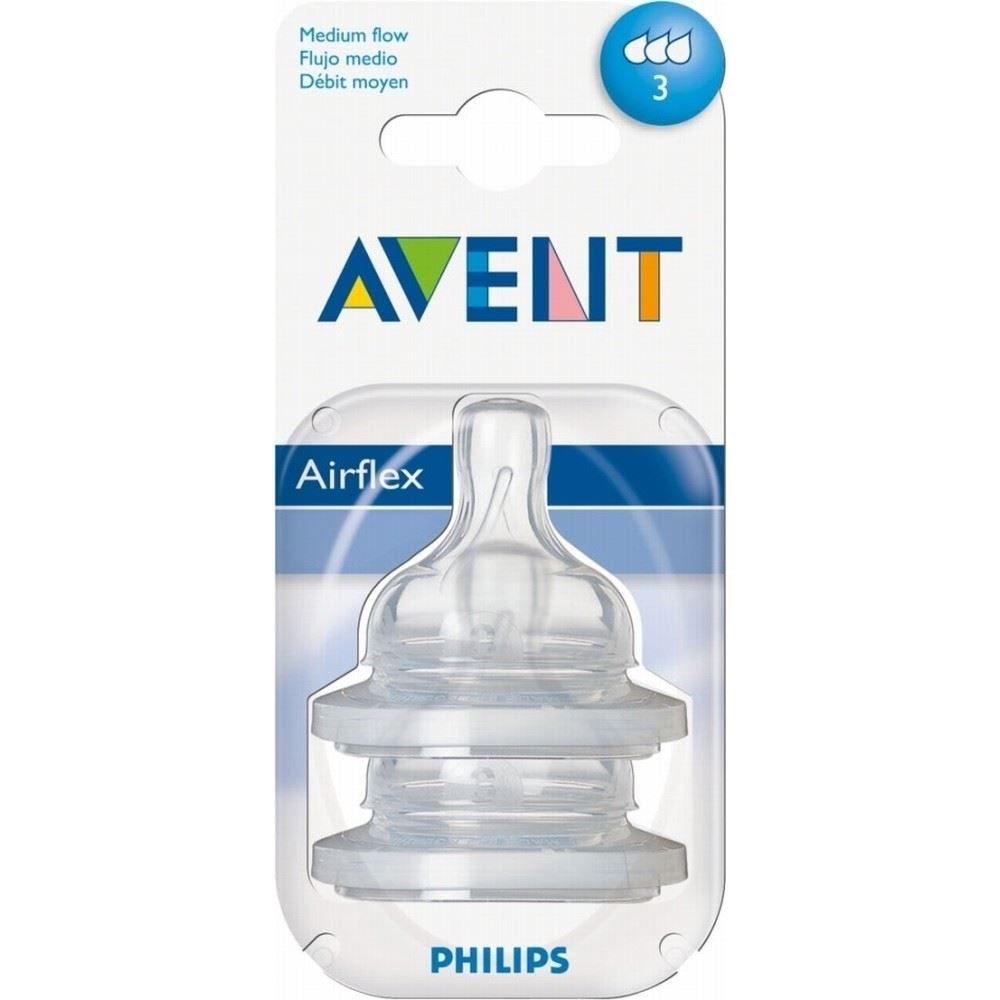 Avent Classic+ Silicone Teats - Medium Flow 3 Hole 3mth+ (2) Grocery
