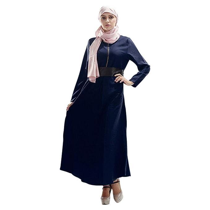 Hzjundasi Vestido de Musulmana Islámica Afghan Abaya para Mujer - Iglesia Cremallera en el Pecho Togas de Manga Larga Cinturón Árabe Ropa de Vestidos: ...
