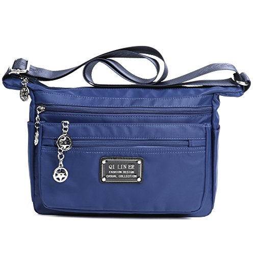 TENXITER Nylon Crossbody Handbag for Women with Pockets (Blue)