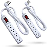 Surge Protector Power Strip [2 Pack], Fosmon [ETL Listed] 4-Outlet Power Strip 1875W 15A 300J, 3FT Extension Cord with Flat 3 Prong Grounded AC Plug for Entertainment Room, Living Room, Office