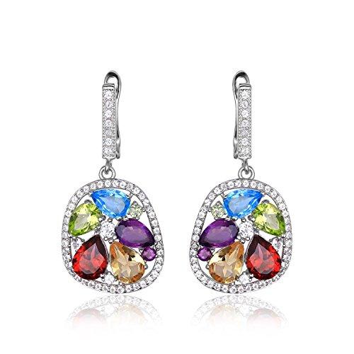 JewelryPalace 6.24ct Magnifique Boucles d'Orelles Pendantes Femme en Argent Sterling 925 en Améthyste Cirine Grenat Péridot Topaze Bleu Naturelle
