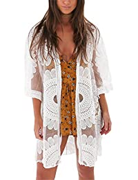 Avidqueen Women's Sexy Lace Crochet Swimsuit Bikini Cover Up Beach Dress (White)