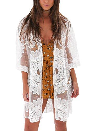 Avidqueen Women's Sexy Lace Crochet Swimsuit Bikini Cover Up Beach Dress (White)