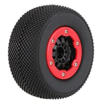 MonkeyJack 4 Pieces 1:10 RC Short Racing Car Wheel Tyre Tires & Wheel Rim for Traxxas Slash Car