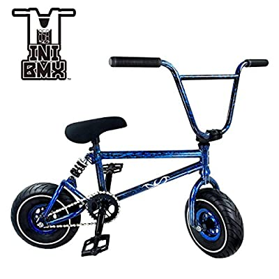 Mini BMX Freestyle Bike – Light Fat Tires With 3pce Crank & Spring Accessories For Pro To Beginner – These Bad Boy Bicycles Are Great For Stunt Trick & Racing (Blue Splash) By RIDE 858