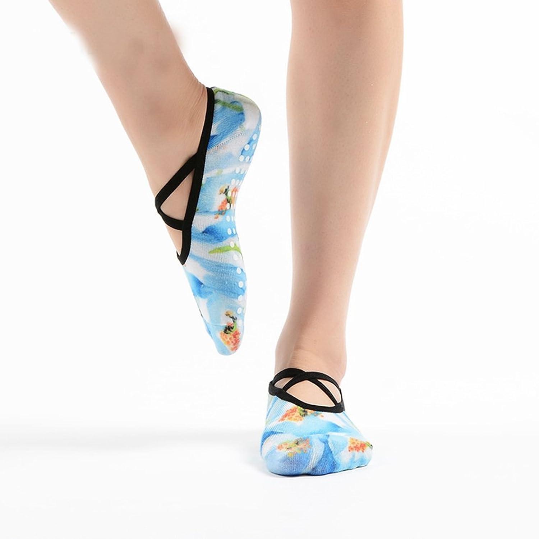 Amazon.com: PinkBTFY Women Cotton Yoga Socks 3D Printed Ankle Socks Non-Slip Grip Dance Flower Pilates Sox Blue: Clothing
