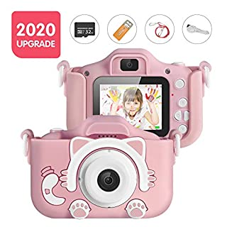 Kids Camera, Digital Camera for Kids 16.0MP 2.0 Inch HD Shockproof Camera, IPS Screen Kids Video Camera with 32 GB Memory Card and Games, Mini Kids Camcorder(1920x1080P) Camera Gifts for Kids (Pink)