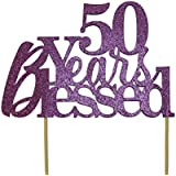 All About Details Purple 50-Years-Blessed Cake Topper