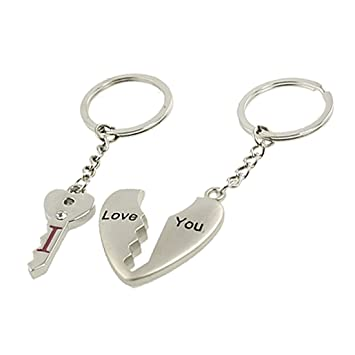 Couples Silver Tone Metal Heart Key Pendant Keychains Keyrings  Amazon.co.uk   Toys   Games b221cb5cf786