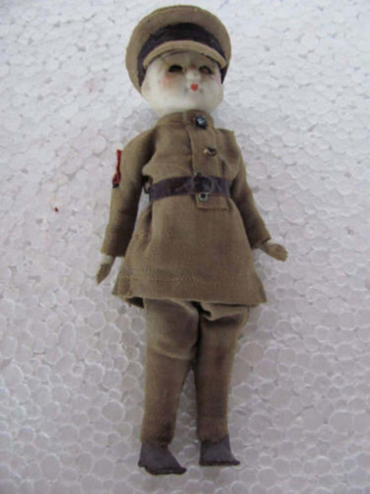 Vintage Military Cloth Covered Clay Doll House Toy