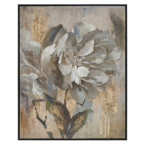 White Gold Floral Peony Painting | Oversize Wall Art Artwork Flower - Peony wall art