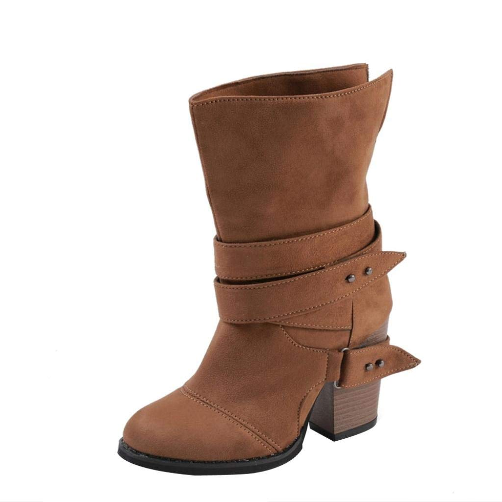 Aurorax-shoes 2018 New Women's Wedges Booties, Fashion Chunky Block Heel Buckles Boots (Brown, US:8.5)