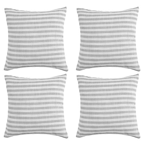 Deconovo Pillow Cases Striped Pillowcases Cushion Covers with Invisible Zipper for Sofa 18 x 18 Inch White and Light Grey Set of 4 No Pillow Insert (Grey Stripe Cushion)
