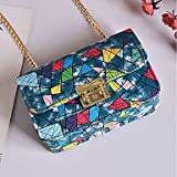 YJIUX Women Shoulder Bag PU All Seasons Wedding Event/Party Casual Formal Office & Career Flap Clasp Lock Red black White Blue,Blue