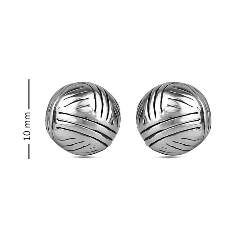 LeCalla Sterling Silver Jewelry Antique Electroforming Hollow Ball Line Texture Stud Earrings for Women
