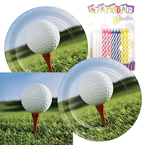 Sports Fanatic Golf Theme Plates and Napkins Serves 16 With Birthday Candles]()