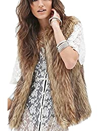Yacun Women Winter Short Faux Fur Vest Coat Sleeveless Jacket Gilet