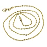 IcedTime Solid 14K Yellow Gold 1.5mm Wide Rope Chain Diamond Cut Anklet with Lobster Clasp 10'' long