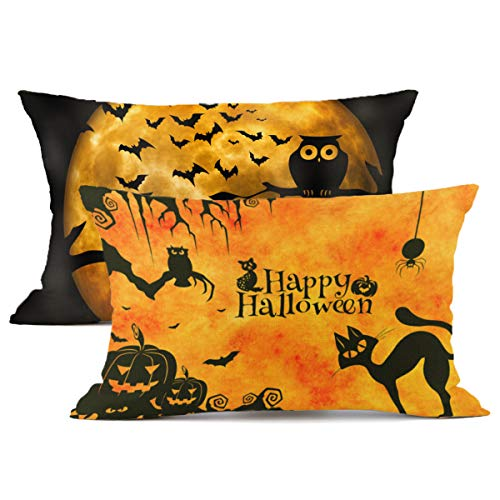 Redland Art Happy Halloween Pumpkin Throw Pillow Case Owl Cat Bat Animal Patterns Cotton Linen Cushion Cover Case Decor 12 x 20 Inch (Set of 2) -
