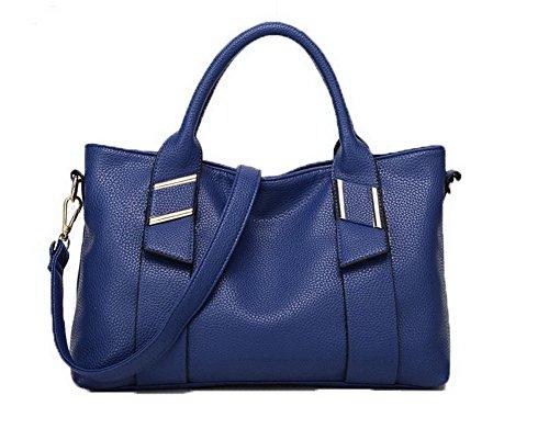 Azul Bolsos PU cruzados Casual VogueZone009 Cremalleras Bolsas de mano Mujeres Formal TxwBqnO6v