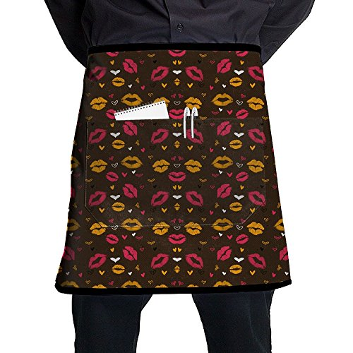 Kiss Love Lips Restaurant Cooking Kitchen Half Body Waist Aprons Sewing Pocket Apron -