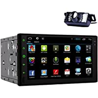 EINCAR Double Din In Dash Universal Head Unit Car DVD Player GPS Sat Nav Navigation 7 inch Android 4.4 Multimedia System AM/FM Radio Stereo Bluetooth/SD/3G/Wifi/DVR/1080P with Reversing Camera