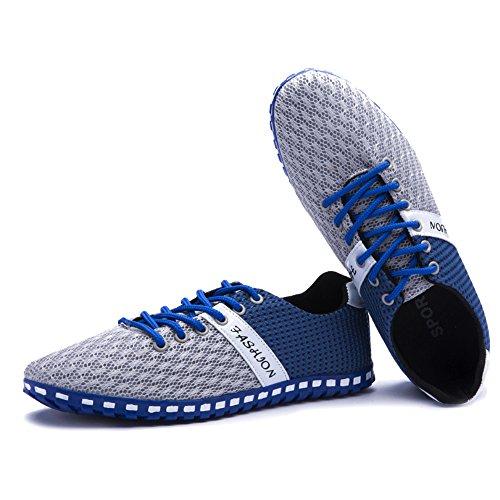 Rainlin Manar Tillfälliga Ventilerande Mesh Promenadskor Mode Sneakers Lägenheter Ljusgrå