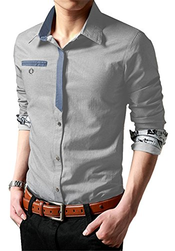 XTAPAN Men's Casual Shirt Long Sleeve Button Down Dress Shirt Light Gray XL
