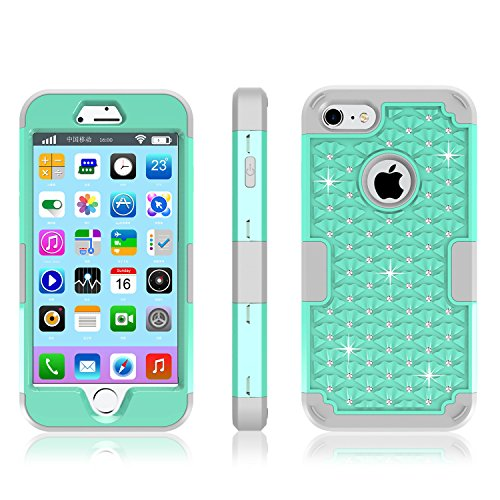 Price comparison product image iPhone 7 Case, Anna Shop Studded Rhinestone 3in1 Shockproof Hybrid Full-body Protective Case Hard Cover PC+Silicone Full Body Protective High Impact Defender Cover For iPhone 7 7S
